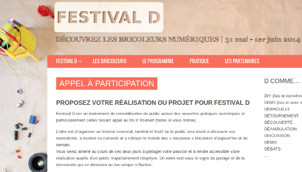 Festival D : appel à participation